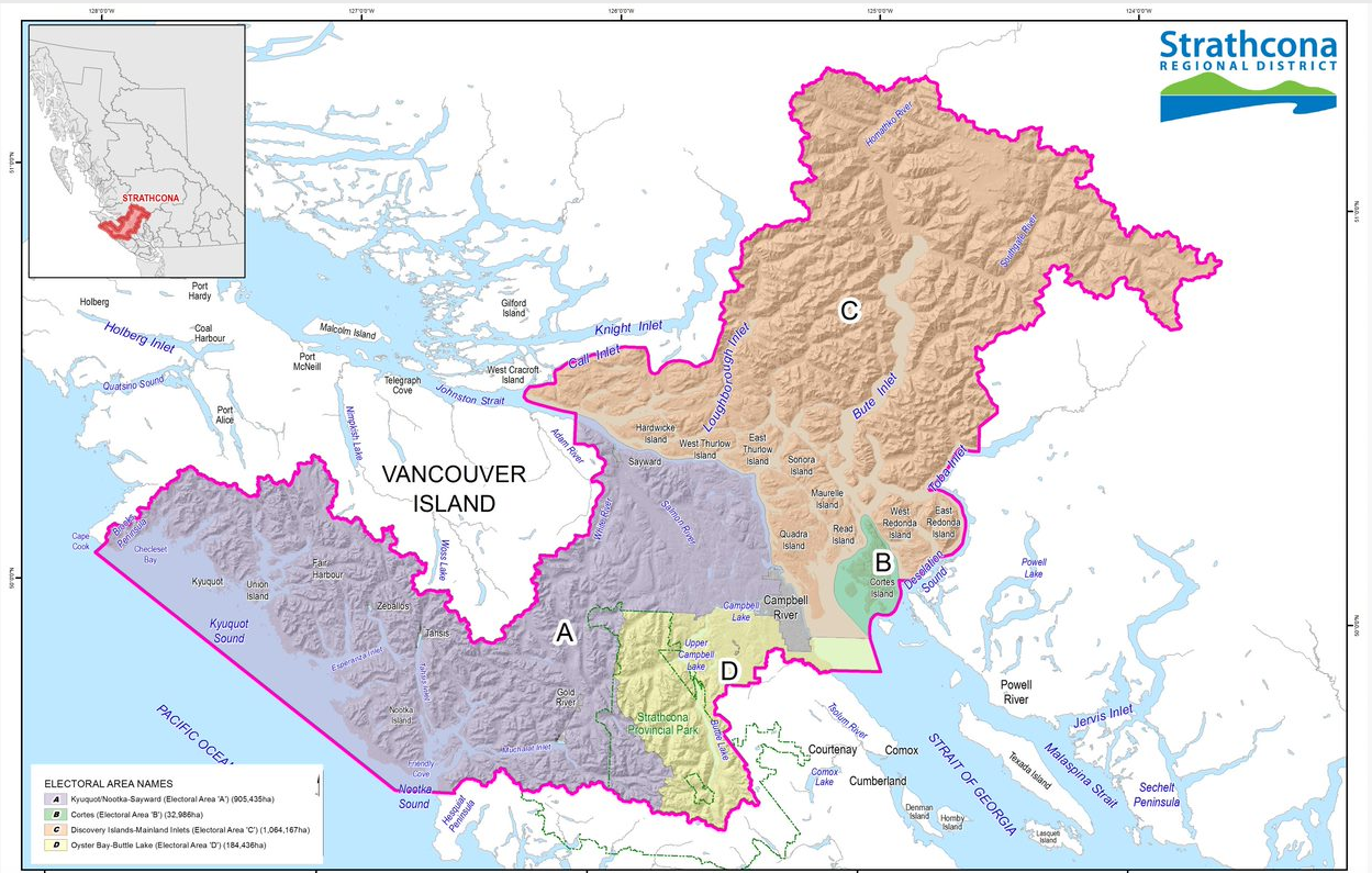 Map of Strathcona Regional District