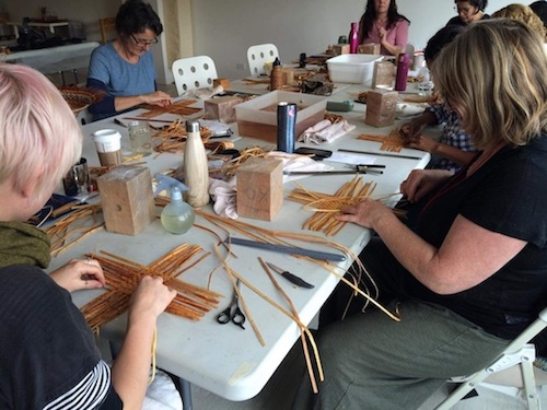 Cedar weaving workshop with Amy Robertson in Vancouver at The Craft Lab, Where I recorded field recordings for Secrets of the Cedar Weavers - by Tara Warkentin