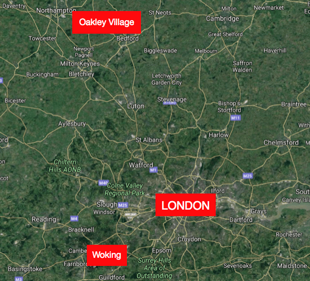 Oakley Village and Woking, in relationship to London - adapted from Google Maps by Roy L Hales