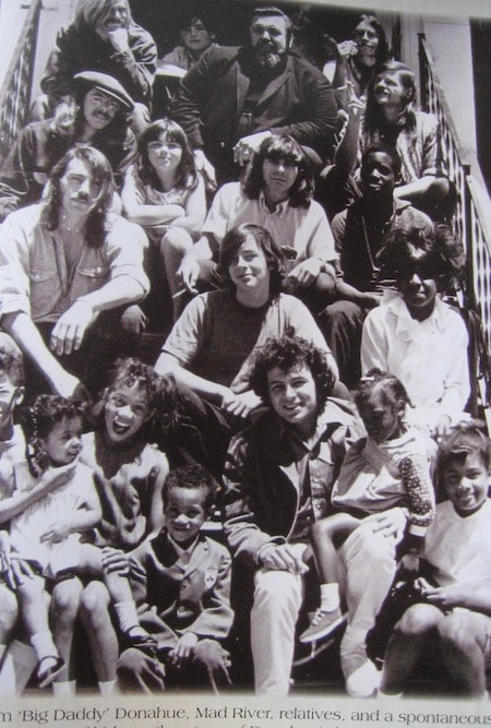 A spontaneous gathering of the Mad River band and neighbourhood kids on the steps of Big Daddy Donahue's house. Donahue is at the centre of the top row. Rick is second down, on the left. - courtesy Rick Bockner