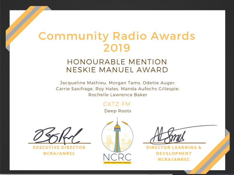 Deep Roots Won Honourable Mention: NCRA Community Radio Award