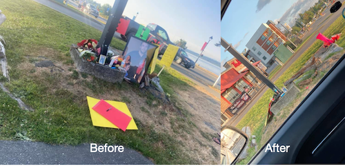 Before and after photos of the street-side memorial to Jared Lowndes, which was torn down by people wishing to memorialize the police dog Gator
