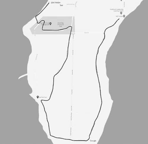 Map showing the final leg of the Cortes Half Marathon
